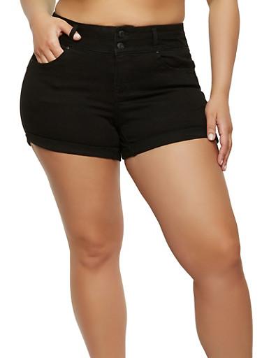 Plus Size WAX High Waisted Denim Shorts,BLACK,large