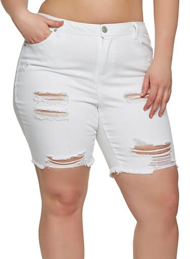 Plus Size Almost Famous Denim Bermuda Shorts,WHITE,large