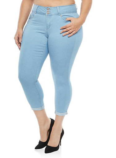 Plus Size WAX High Waisted Push Up Skinny Jeans,LIGHT WASH,large