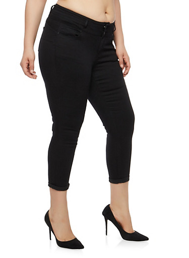 Plus Size WAX 2 Button Solid Push Up Jeans | Tuggl