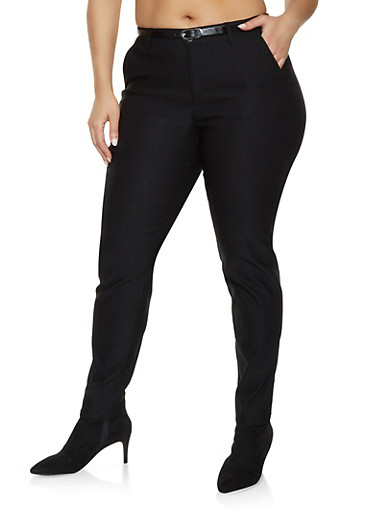 Plus Size Belted Stretch Pants,BLACK,large