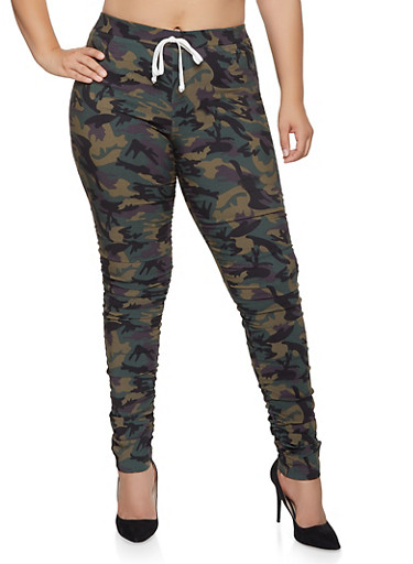 Plus Size Camo Ruched Jeggings,OLIVE,large