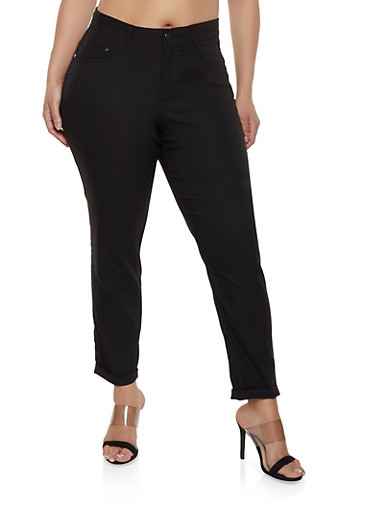 Plus Size Stretch Push Up Jeggings,BLACK,large