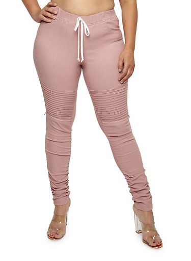 Plus Size Ruched Moto Joggers,ROSE,large