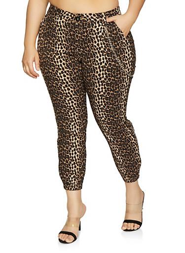 Plus Size Leopard Print Joggers,BROWN,large