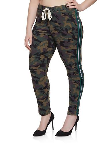 Plus Size Camo Side Stripe Jeggings,GREEN,large