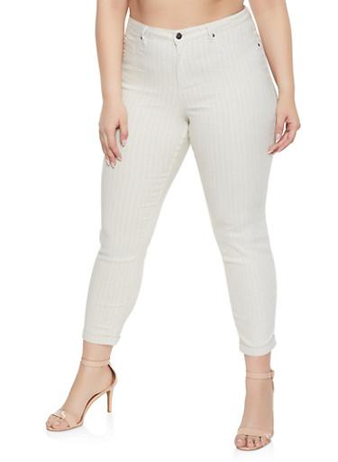 Plus Size Striped Pants,OATMEAL,large