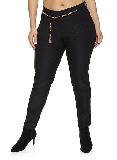 Plus Size Studded Stretch Pants,BLACK,large