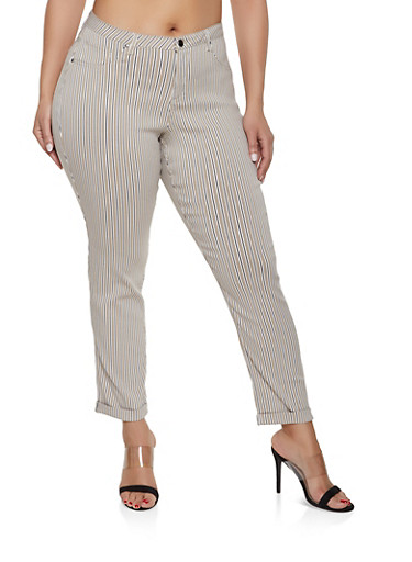 Plus Size Striped Hyperstretch Pants,KHAKI,large
