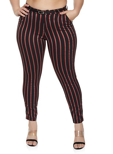 Plus Size Color Striped Dress Pants with Belt - Rainbow