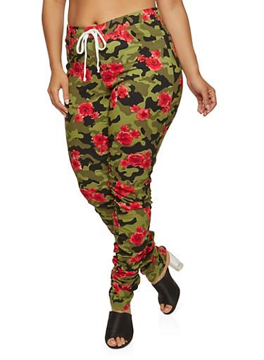 Plus Size Floral Camo Joggers,OLIVE,large