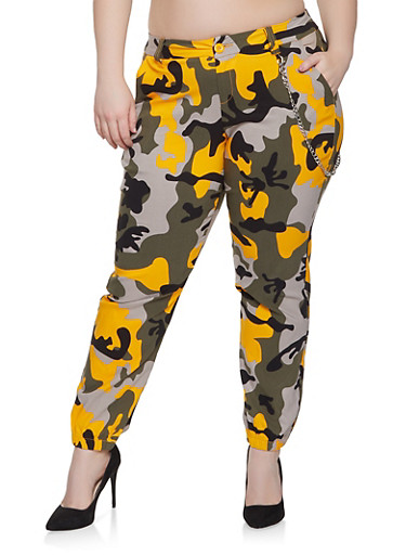 Plus Size Camo Joggers,MUSTARD,large