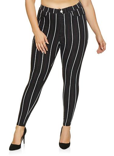 Plus Size Striped Jeggings,BLACK,large