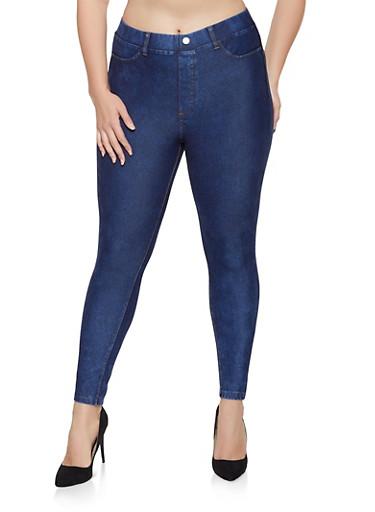 Plus Size Push Up Denim Knit Jeggings,BLUE,large