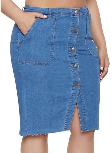 82df5de1c3db6 Plus Size Almost Famous High Waisted Denim Skirt - Rainbow