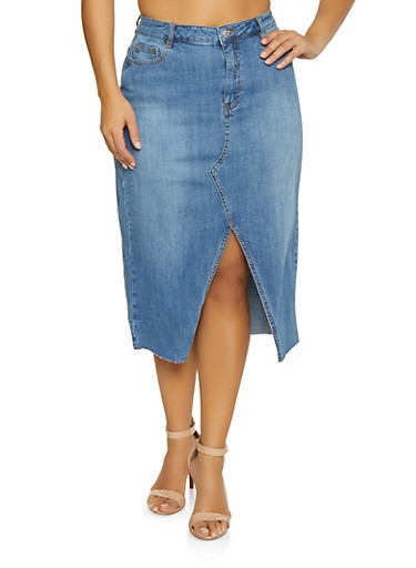 Plus Size Almost Famous Denim Pencil Skirt,MEDIUM WASH,large