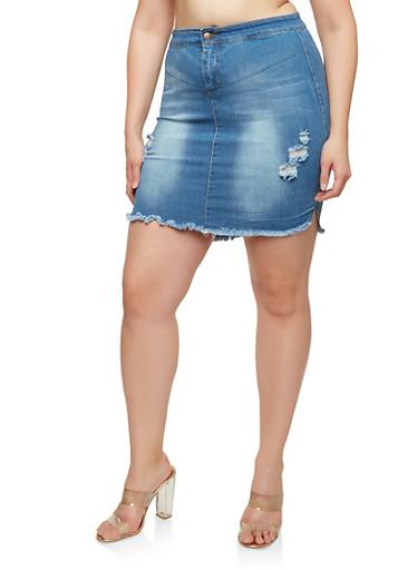Plus Size Distressed High Low Denim Skirt,MEDIUM WASH,large