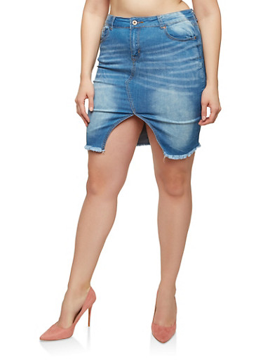 Plus Size Front Slit Denim Pencil Skirt,MEDIUM WASH,large
