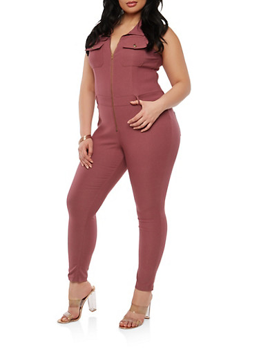 Plus Size Zip Up Stretch Jumpsuit,WINE,large
