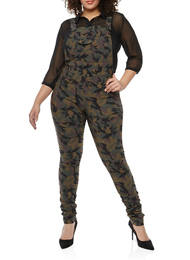 Plus Size Ruched Camo Stretch Overalls,CAMO,large