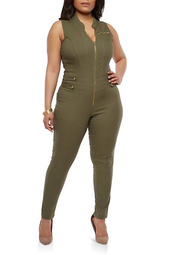 Plus Size Zip Up Stretch Jumpsuit,OLIVE,large