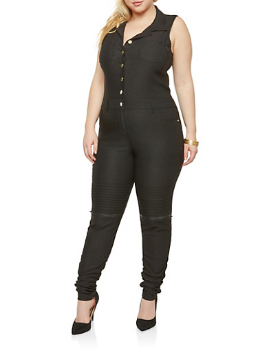 Plus Size Ruched Moto Button Front Jumpsuit,BLACK,large