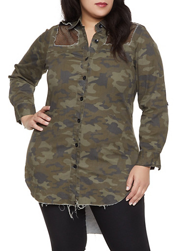 Plus Size Distressed Camo Shirt,OLIVE,large