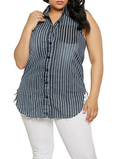 Plus Size Striped Denim Shirt,BLACK,large