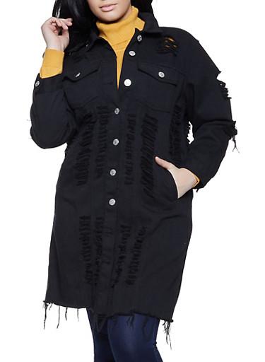 Plus Size Slashed Long Denim Jacket,BLACK,large