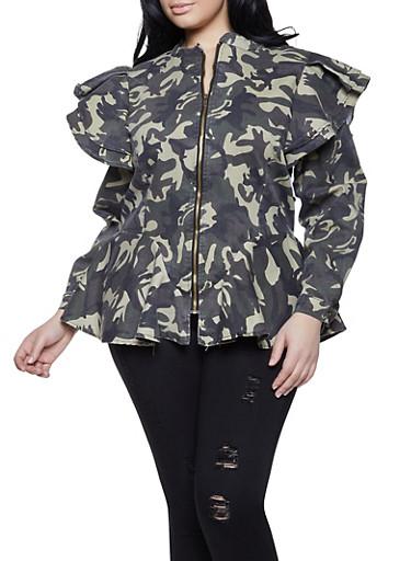 Plus Size Camo Denim Jacket,OLIVE,large