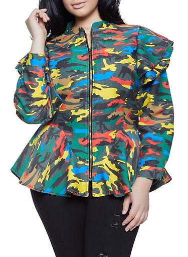 Plus Size Camo Ruffled Shoulder Denim Jacket,MULTI COLOR,large