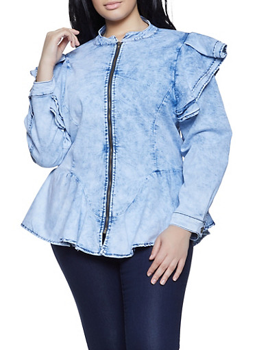 Plus Size Ruffle Detail Denim Jacket,DENIM,large