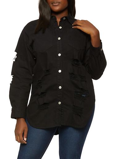 Plus Size Distressed Button Front Denim Shacket,BLACK,large