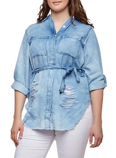 Plus Size Denim Button Front Tunic,MEDIUM WASH,large