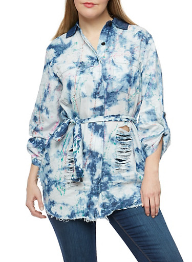 Plus Size Distressed Paint Splatter Denim Shirt,MEDIUM WASH,large