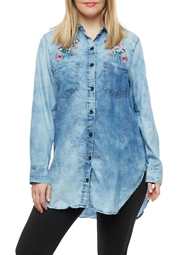 Plus Size Embroidered Denim Button Front Shirt,MEDIUM WASH,large