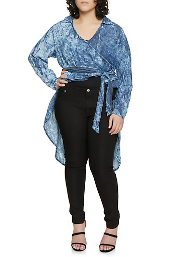 Plus Size Faux Wrap High Low Denim Top,LIGHT WASH,large