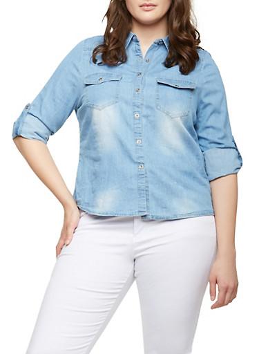 Plus Size Chambray Shirt,LIGHT WASH,large