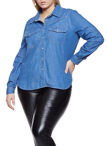 Plus Size Long Sleeve Button Front Denim Shirt,MEDIUM WASH,large