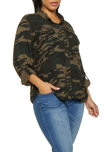 Plus Size Button Front Camo Shirt,OLIVE,large