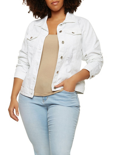 Plus Size Highway Distressed Denim Jacket,WHITE,large