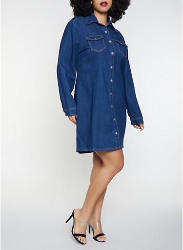 Plus Size Highway Denim Shirt Dress,MEDIUM WASH,large