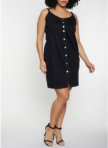 Plus Size Button Front Denim Dress,BLACK,large