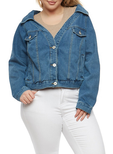 Plus Size Highway Off the Shoulder Denim Jacket,MEDIUM WASH,large