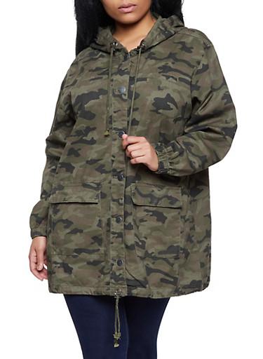 Plus Size Highway Hooded Camo Anorak Jacket,OLIVE,large