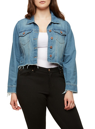 Plus Size Highway Raw Hem Denim Jacket | Tuggl