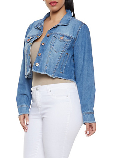 Plus Size Highway Frayed Denim Jacket,MEDIUM WASH,large