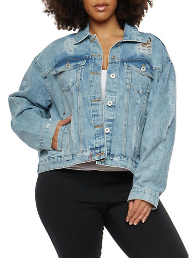 Plus Size Highway Destroyed Denim Jacket,LIGHT WASH,large