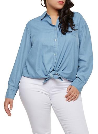 Plus Size Tie Front Denim Shirt,MEDIUM WASH,large