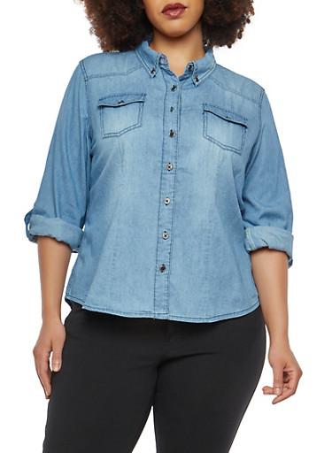 Plus Size Denim Button Front Shirt,MEDIUM WASH,large